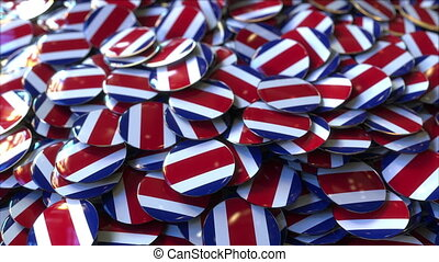 Pile of badges featuring flags of Costa Rica - Badges...