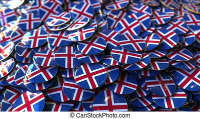 Pile of badges featuring flags of Iceland - Badges featuring...
