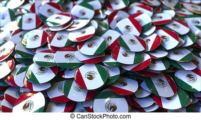 Pile of badges featuring flags of Mexico - Badges featuring...