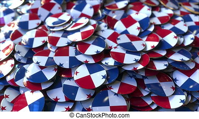 Pile of badges featuring flags of Panama - Badges featuring...
