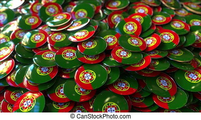 Pile of badges featuring flags of Portugal - Badges...