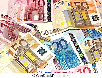 Pile of bank notes, 10, 20, 50 euro