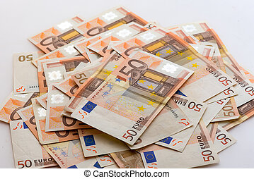 Pile of banknotes of 50 Euro