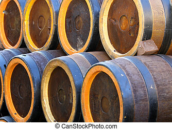 barrels to contain the spirits like brandy or wine cellar -...