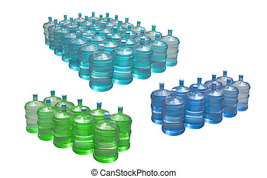 pile of big water bottles isolated on white