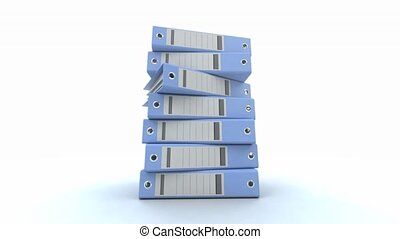 Pile of binders blue - 3D animation of a pile of blue ring...