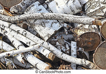 firewood - pile of birch firewood