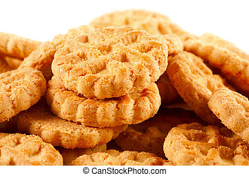 Pile of biscuits isolated on white