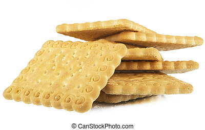 pile of biscuits on white