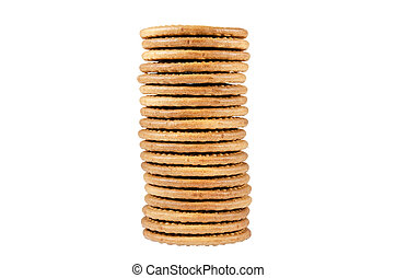 Pile of biscuits over white isolated background