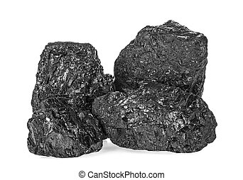 Pile of black coal isolated on a white background