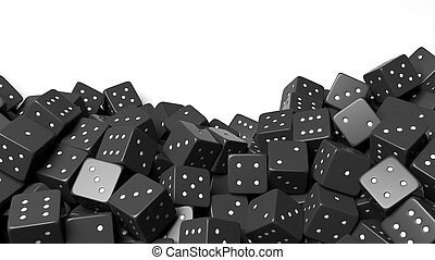 Pile of black random dices with copy-space, isolated on...