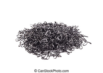 Pile of black rubber ring isolated on white background
