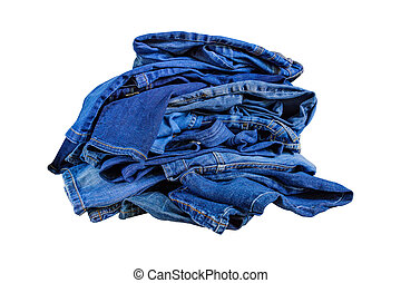 Pile of blue denim jeans in a mess isolated on white bckground.