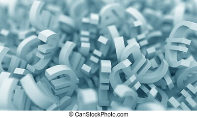 Pile of blue euro symbols. 3D animation - Pile of blue euro...