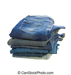 pile of blue jeans isolated on white background