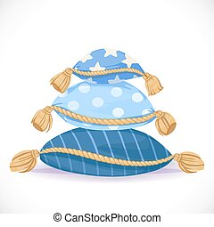 Pile of blue pillows with tassels isolated on a white background