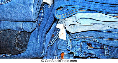 Pile of bluejeans ready to be given to charity.
