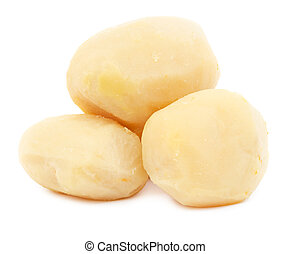 Pile of boiled potatoes isolated