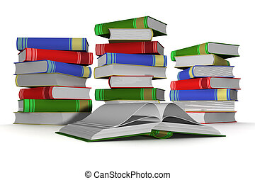 Pile of books. 3D the isolated image.