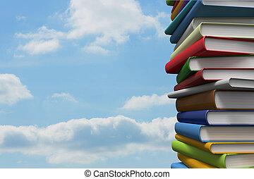 Pile of books against sky