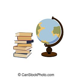 Pile of books and vintage globe. Georaphy science. Learning and studying class. Vector isolated graphic illustration