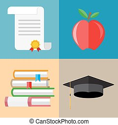 pile of books, graduation cap, diploma, apple