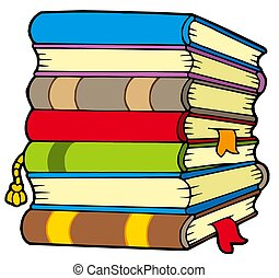 Pile of books - isolated illustration.