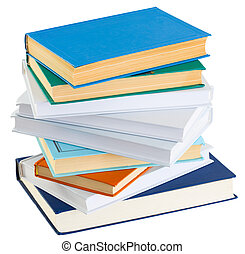 Pile of books on a white background
