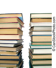 Pile of books on a white background.