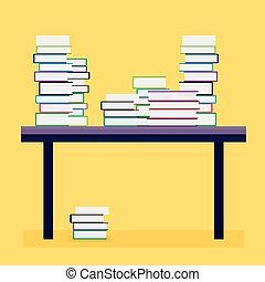Pile of Books on a Wooden Table. Vector Illustration.