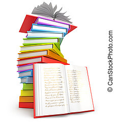 Pile of books. Open book. Icon isolated on white background....
