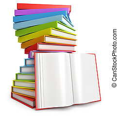 Pile of books. Open book. White background. 3d render