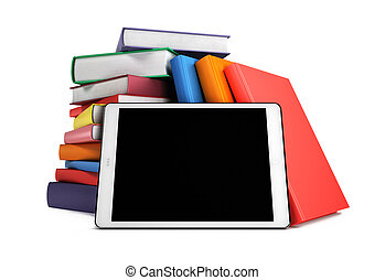 Pile of books with a tablet in the foreground, isolated on white background