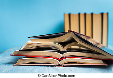 Pile of books with copy space