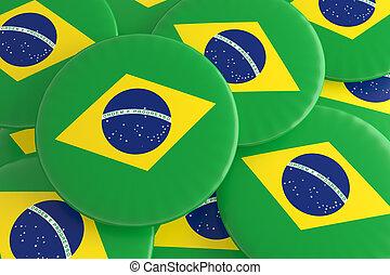 Pile of Brazil Flag Badges