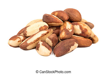 Bunch of raw Brazil nuts on white background