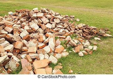 Pile of brick wall
