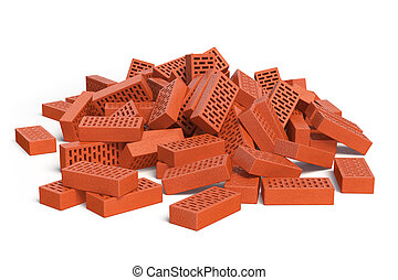 Pile of bricks isolated on white. Construction concept.