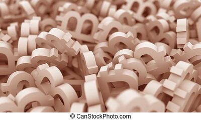 Pile of brown bitcoin symbols. Conceptual 3D animation -...