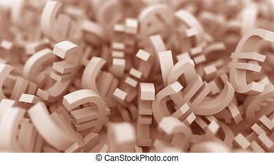 Pile of brown euro symbols. Finance related conceptual 3D...