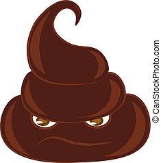 Pile of brown poop vector or color illustration