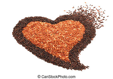 pile of brown rice in heart shape