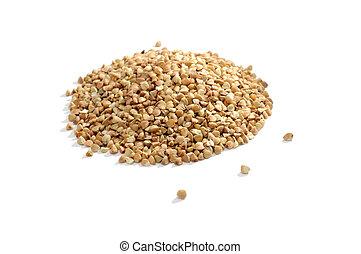Pile of Buckwheat Isolated on White Background