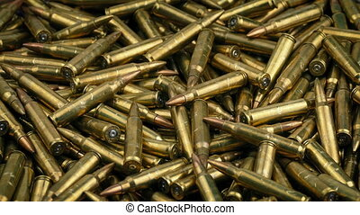 Pile Of Bullets Rotating - Rotating pile of bullets closeup...