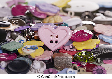 Pile of buttons abstract background