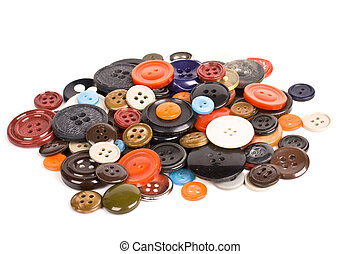 Pile of buttons isolated