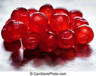 Pile of candied cherries