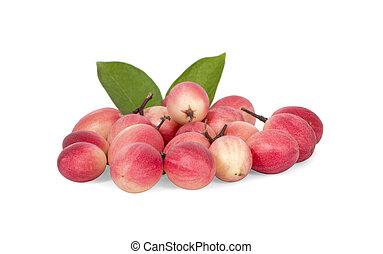 pile of Carissa carandas Linn , Carunda, Karonda, Bengal currants or Carandas, Karanda plum fruits an isolated on white background