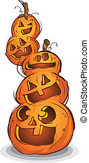 Pile of Carved Halloween Pumpkins - A pile of carved jack...